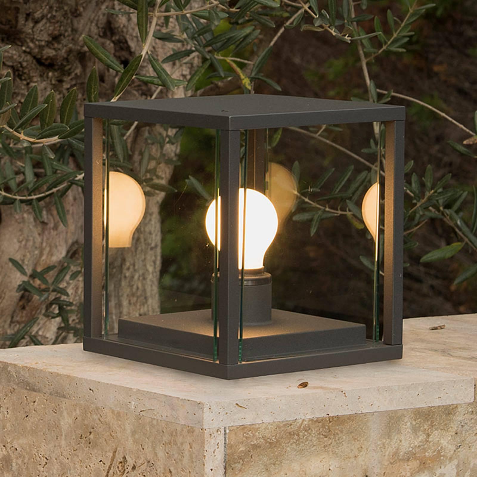 Kuutionmuotoinen pollarilamppu Nala, tummanharmaa