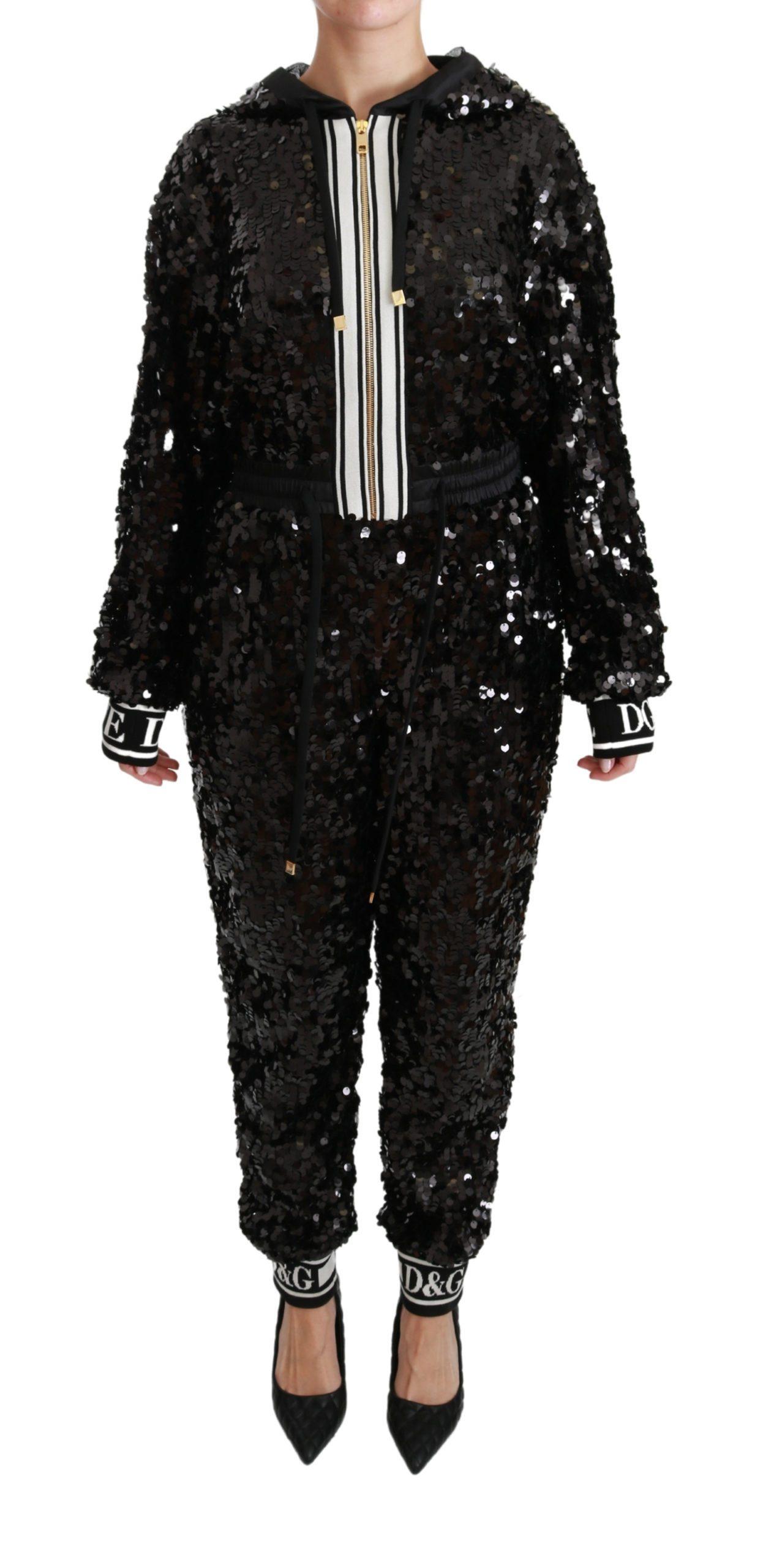 Dolce & Gabbana Women's Sequined Hooded Dress Black DR2486 - IT36 | XS