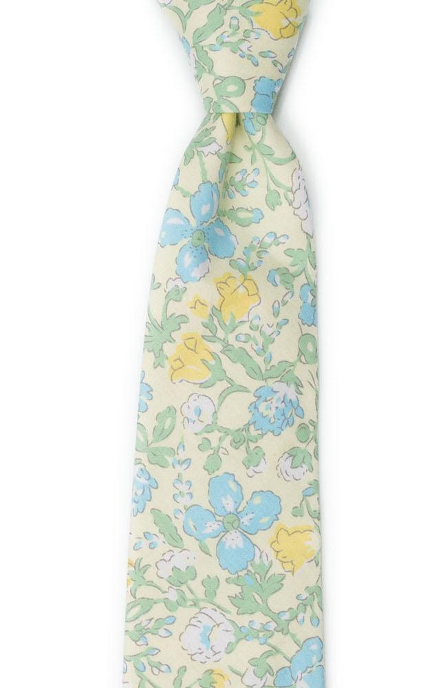 Bomull Slips, Gule, blå & hvite blomster på blekeste gult, Gull, Blomster