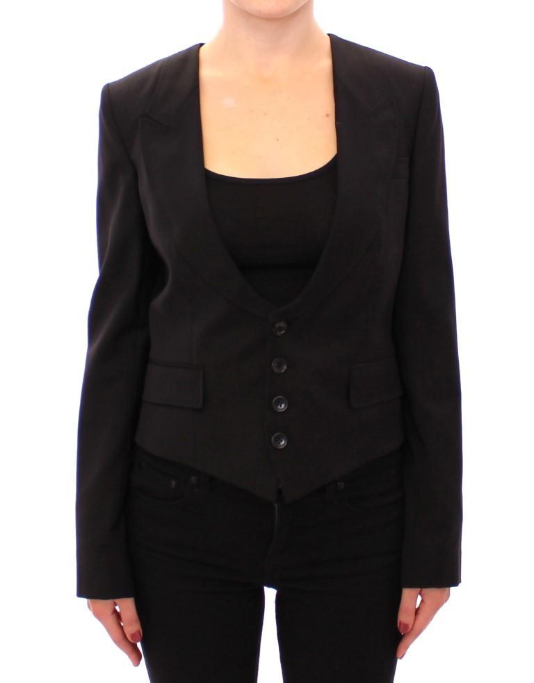 Black Silk Scarf Back Blazer Jacket - IT40|S