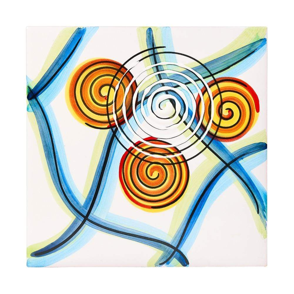 Ceramic Tile 20cm by Sol'Art with Blue Lines