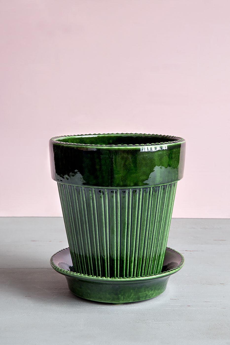 Kruka Simona 16 cm grön inkl. fat