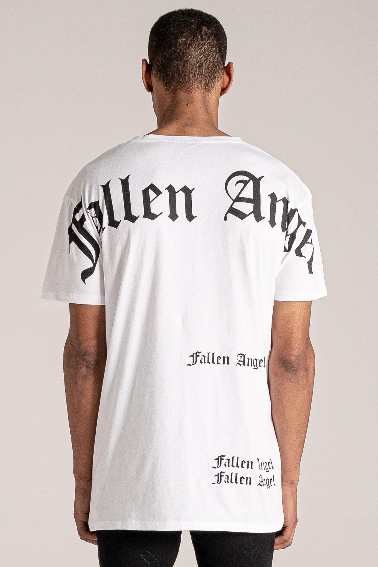 Quake Oversized Fallen Angel Logo Print Men's T-Shirt - White, X-Large