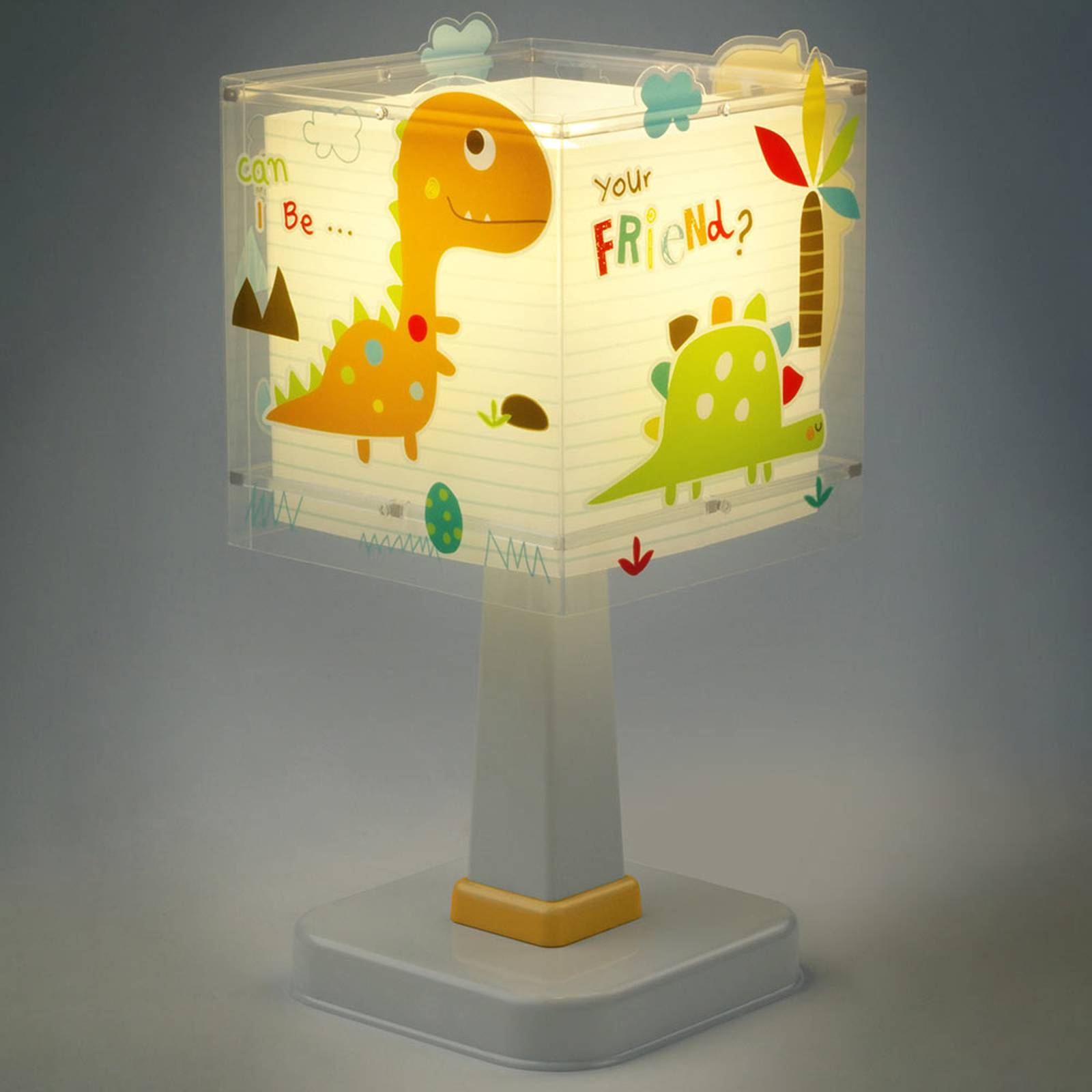 Kulmikas lastenhuoneen pöytälamppu Dinos