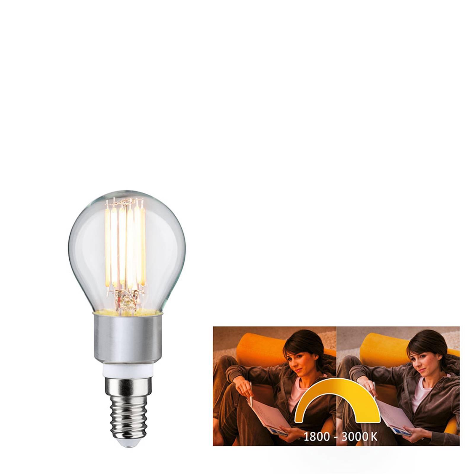Paulmann-LED-golfpallolamppu E14 5W dim to warm