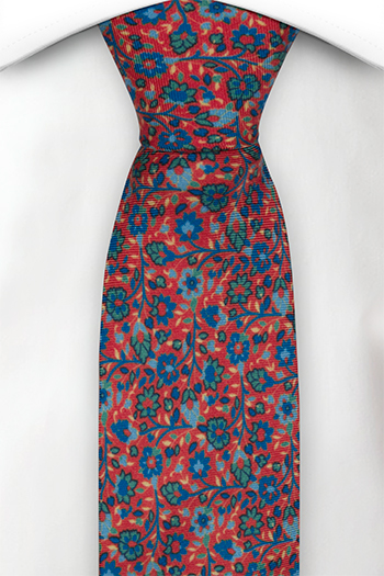 Silke Smale Slips, Små blå & grønne blomster på lys rød base, Rød, Blomster