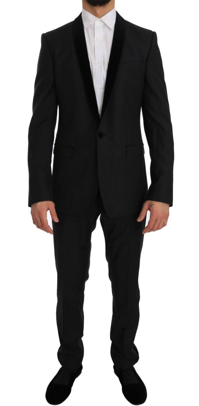 Dolce & Gabbana Men's Tuxedo GOLD Slim Fit Smoking Suit Black JKT1247 - IT48 | M