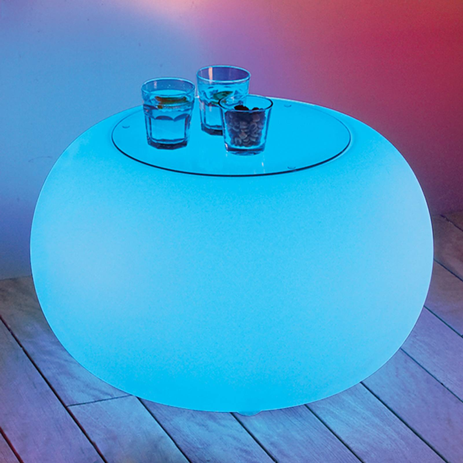 Bubble Outdoor LED pöytä RGB + lasilevy