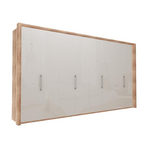 Garderobe Atlanta - Lys rustikk eik 400 cm, 216 cm, Med ramme