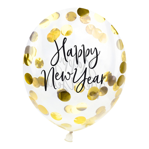 Konfettiballonger Happy New Year Guld - 3-pack