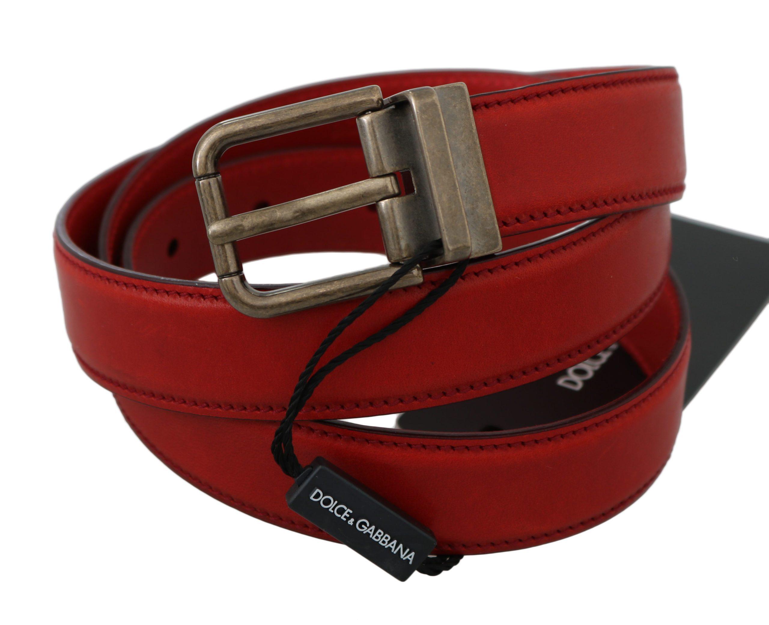 Dolce & Gabbana Men's Leather Metal Buckle Belt Red BEL60357 - 90 cm / 36 Inches