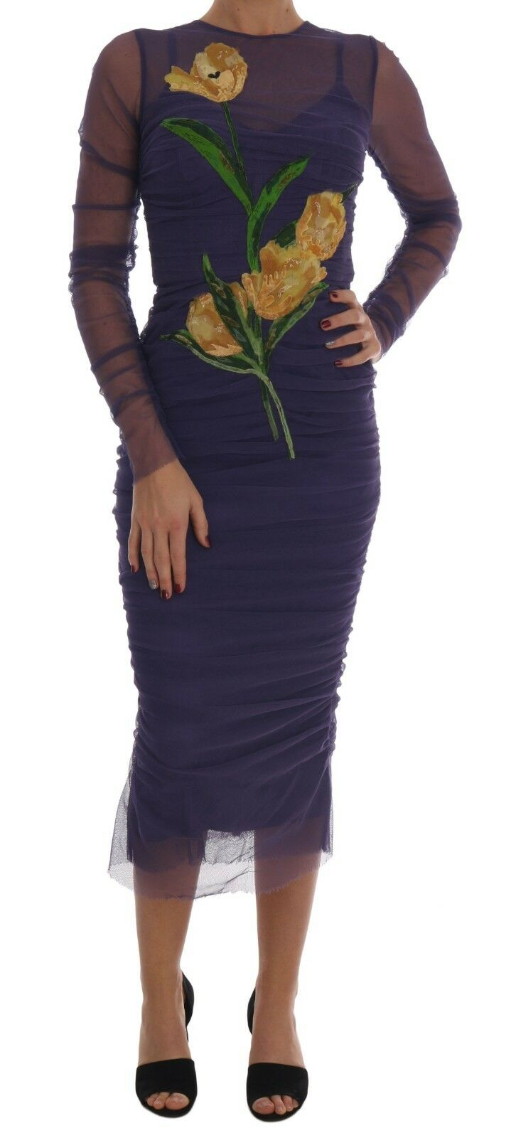 Dolce & Gabbana Women's Floral Tulip Stretch Sheath Dress Purple DR1330 - IT40|S