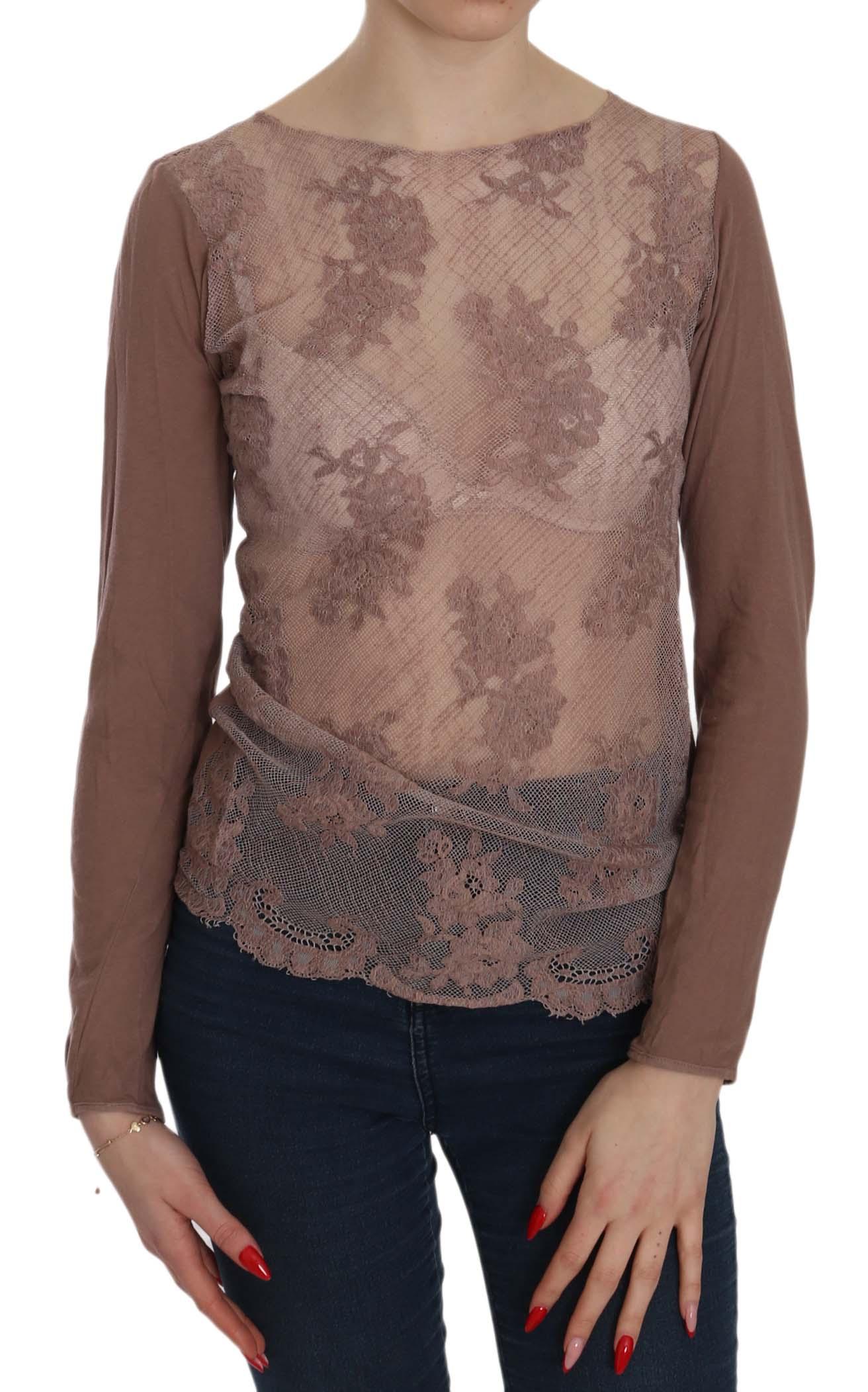 PINK MEMORIES Women's Lace See Through LS Top Brown TSH3912 - IT42|M