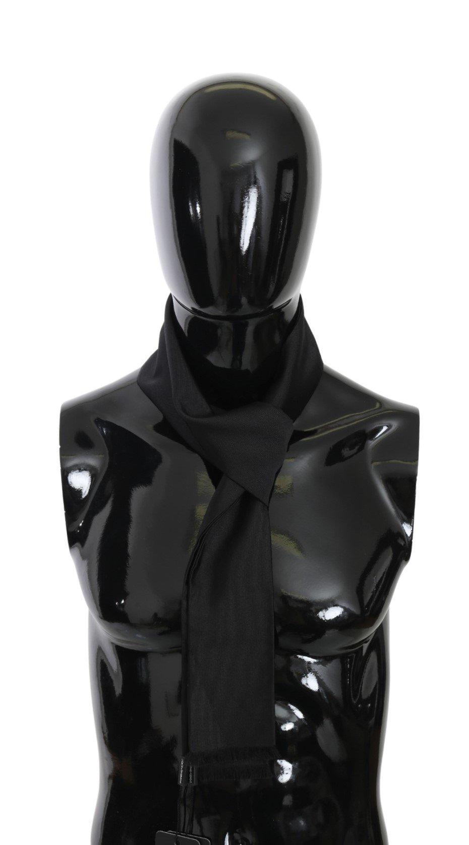 Dolce & Gabbana Men's Fringe Slim Wrap Shawl Silk Scarf Black MS5502