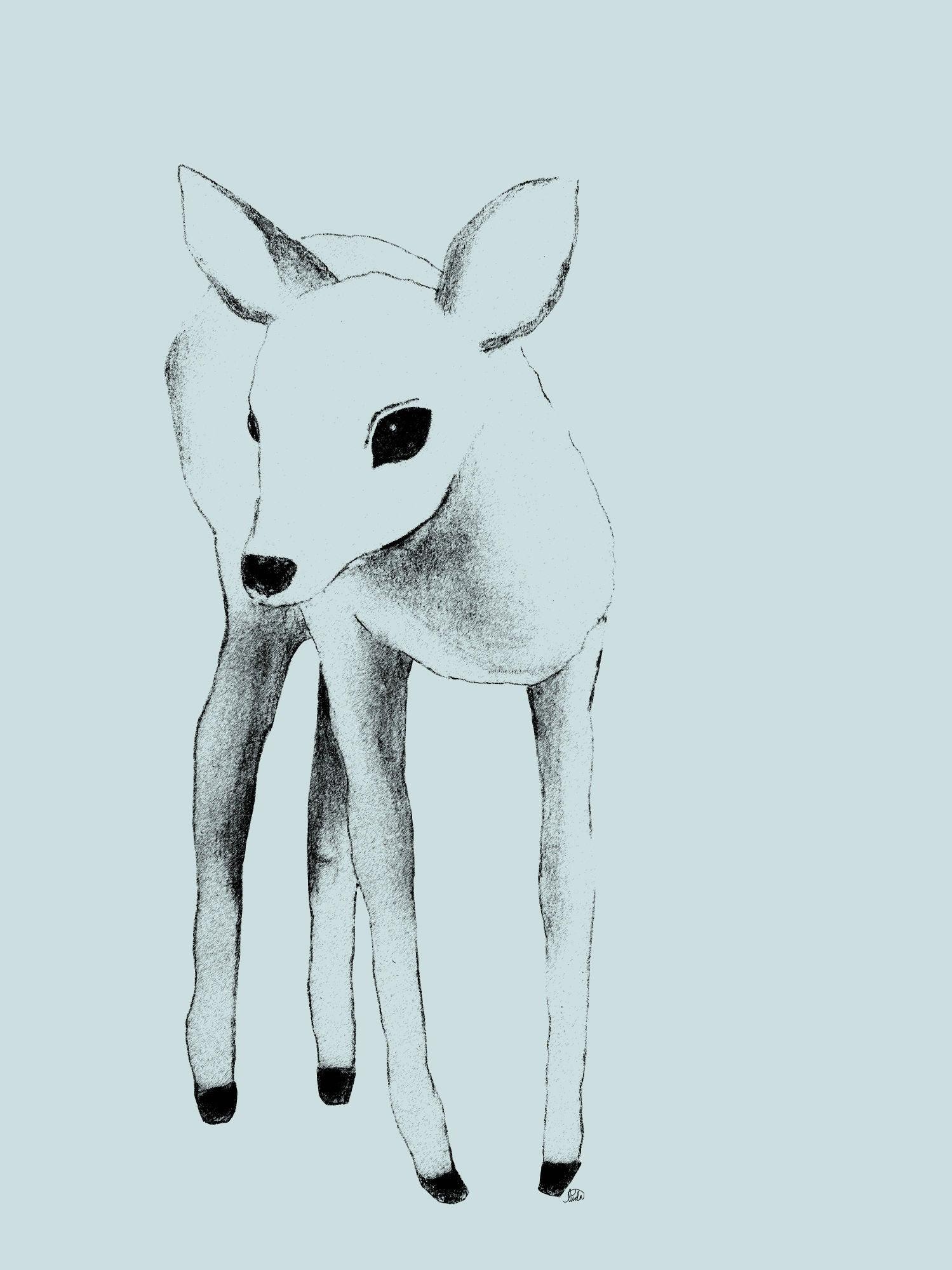 Lilou Lilou Juliste Deer 50x70, Vihreä