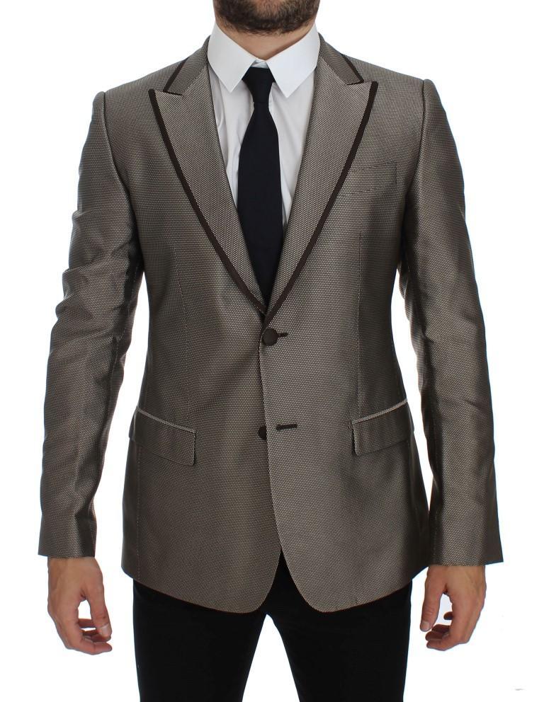Dolce & Gabbana Men's Slim Fit Silk Two Button Blazer Brown GTT10087 - IT48 | M