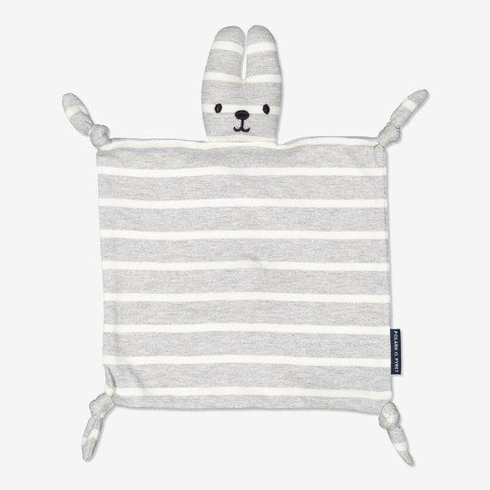 Stripet sutteklut baby gråmelange