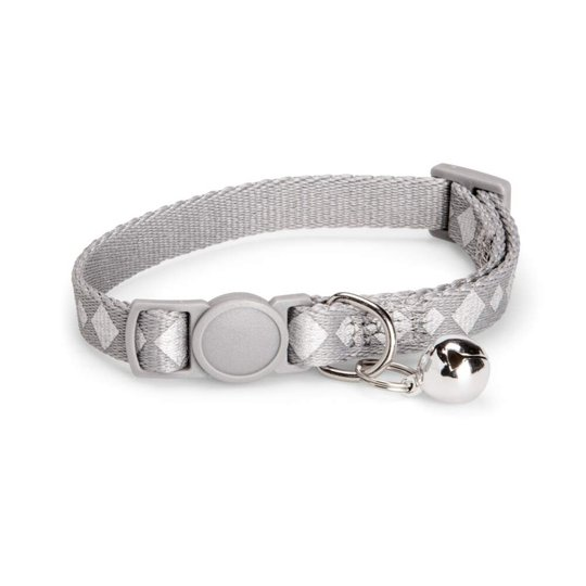 Basic Cat Reflective Check Halsband (Grå)