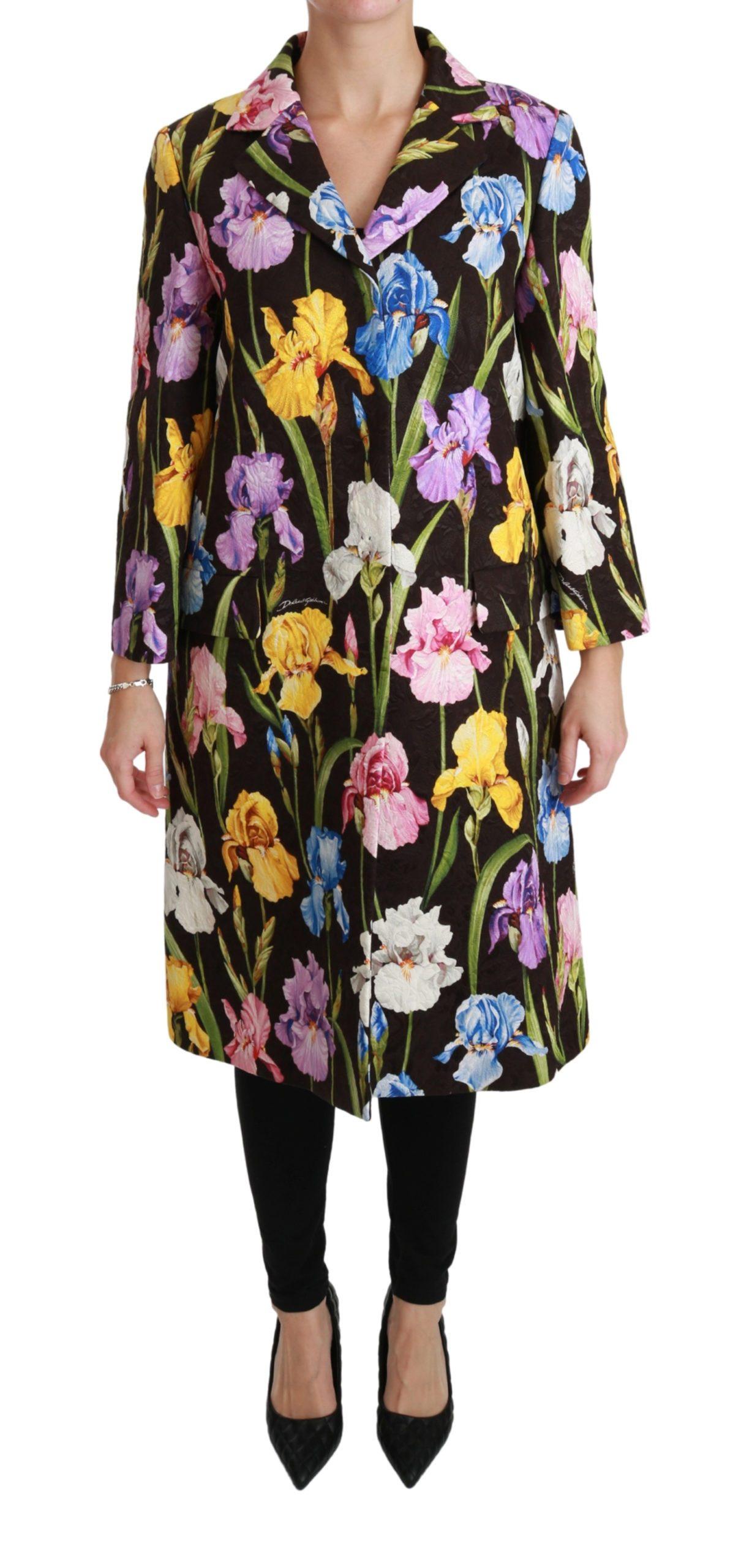 Dolce & Gabbana Women's Floral Brocade Coat Black JKT2582-36 - IT36 | XS