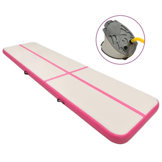 vidaXL Uppblåsbar gymnastikmatta med pump 700x100x20 cm PVC rosa