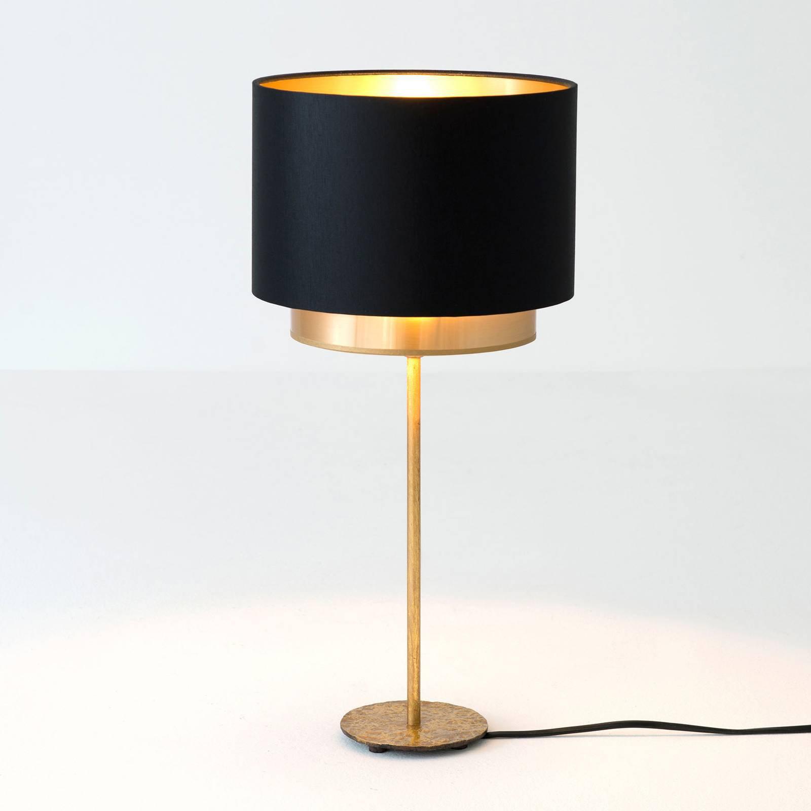 Bordlampe Mattia, chintz, svart/gull