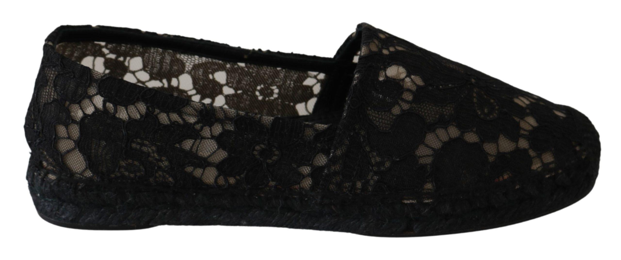 Black Lace Cotton Espadrilles Shoes - EU36/US5.5