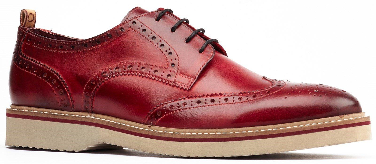 Base London Men's Marcello Lace Up Brogue Shoe Various Colours 32253 - Bordo 7