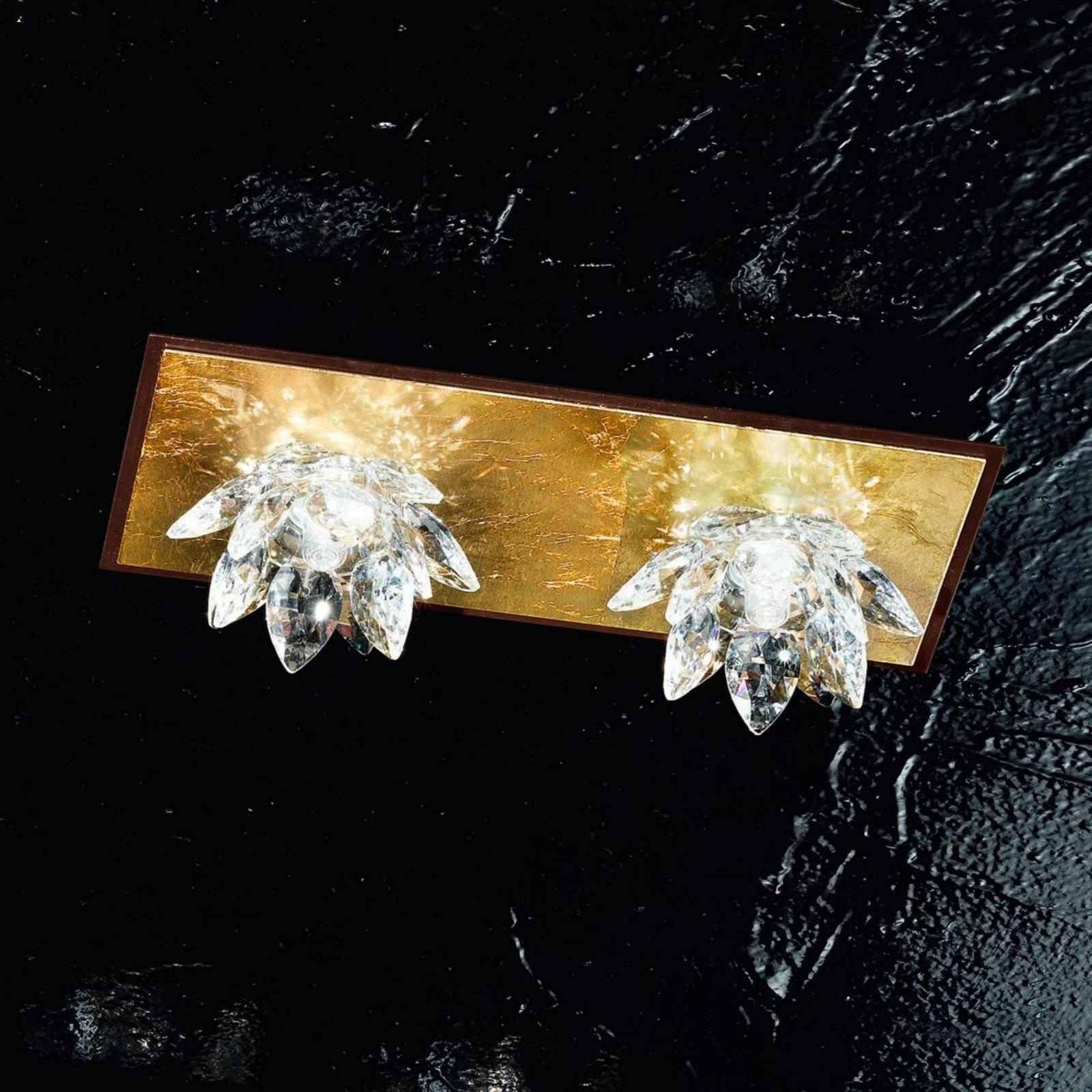 Fiore-taklampe gullblad og krystall 2-lk