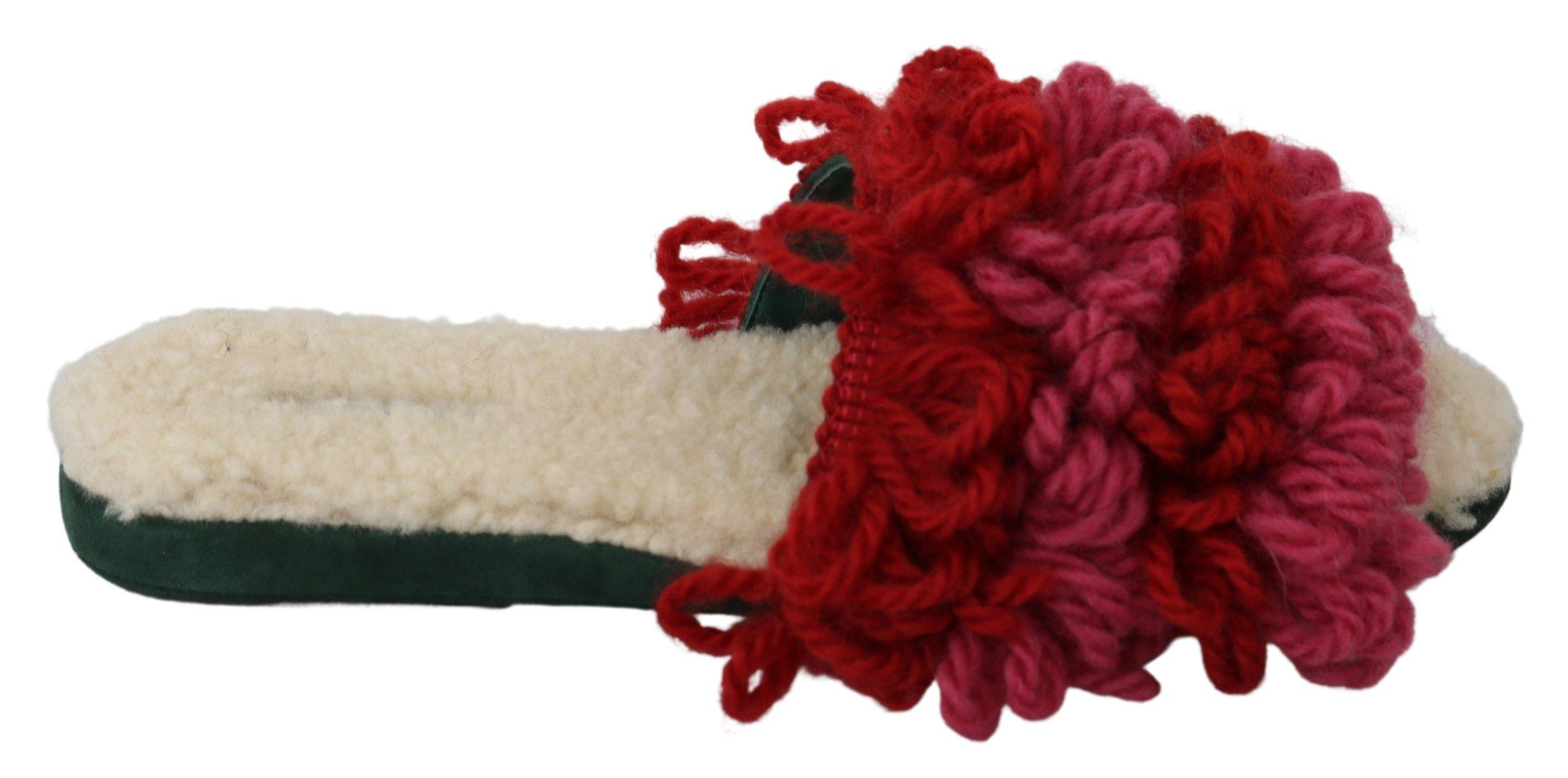 Dolce & Gabbana Women's Suede Shearling Slippers Red LA6895 - EU39/US8.5