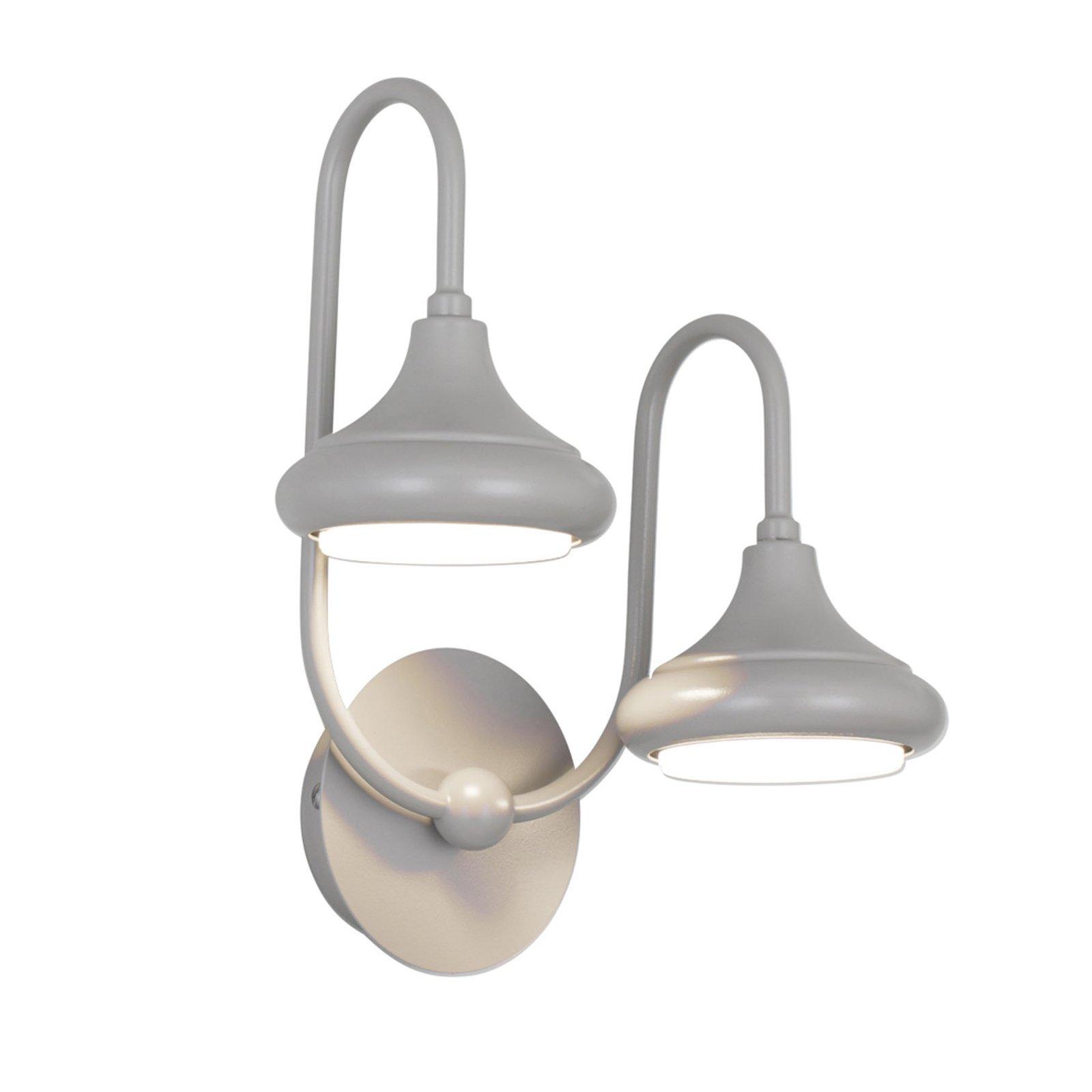 1680/2A vegglampe med 2 lyskilder, grå