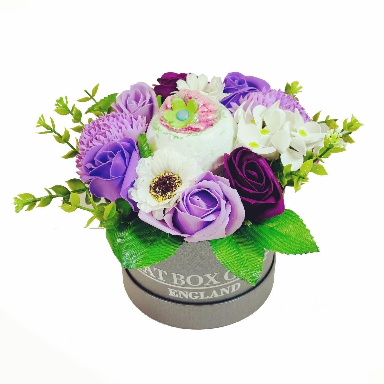 Purple Soap Flowers Hat Box with Bath Bomb