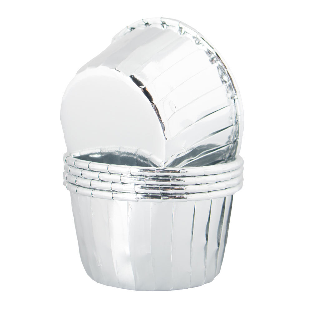 Cupcake Wrapper Silver Metallic - 50-pack