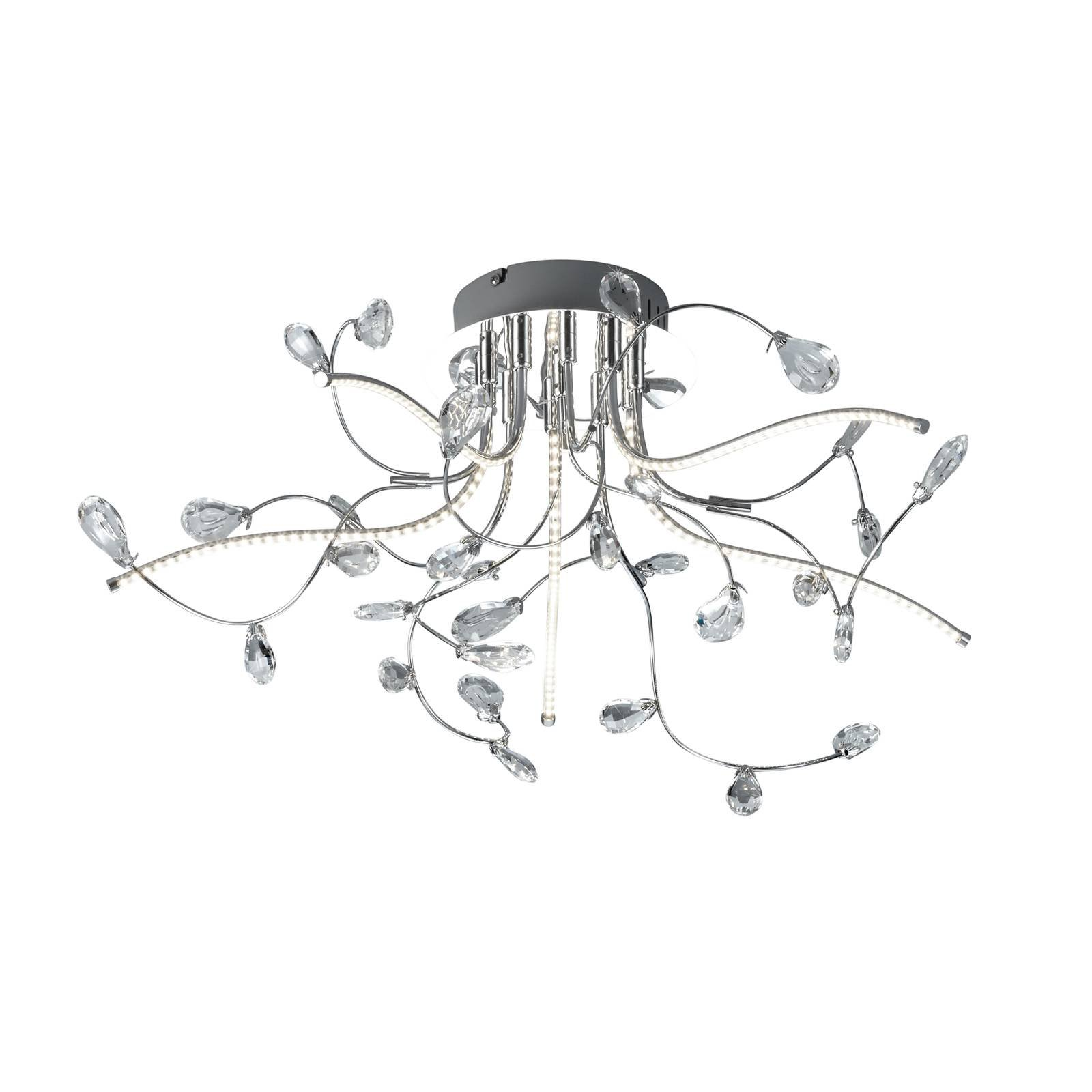 B-Leuchten Crystal taklampe, krom, 54 cm