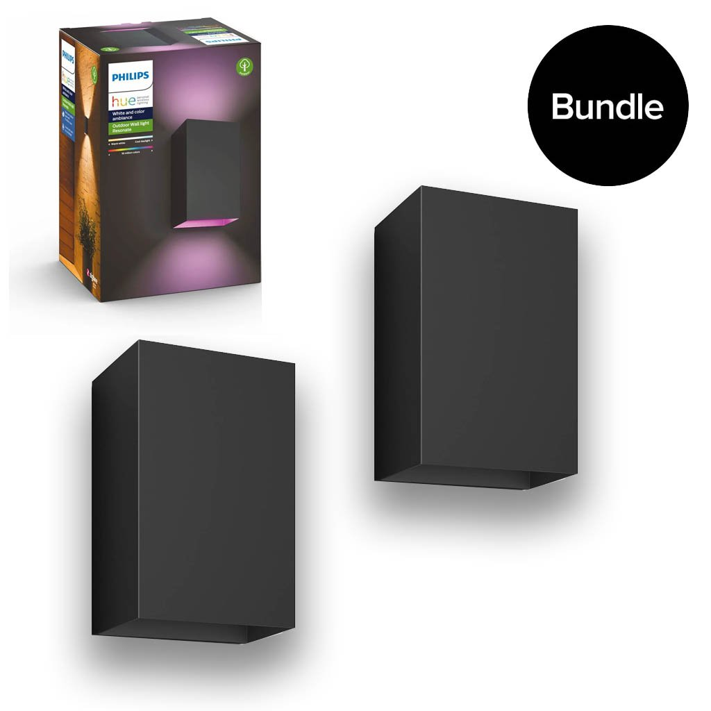 Philips Hue -2x Resonate Wall Light Outdoor - White Color Ambiance - Bundle