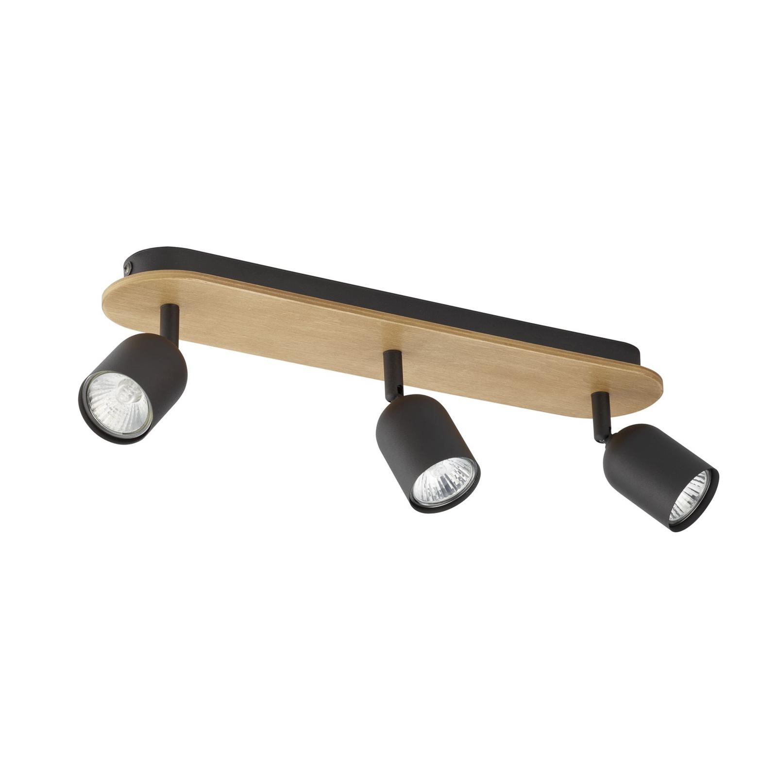 Kattospotti Top Wood, 3-lamppuinen, puu/musta