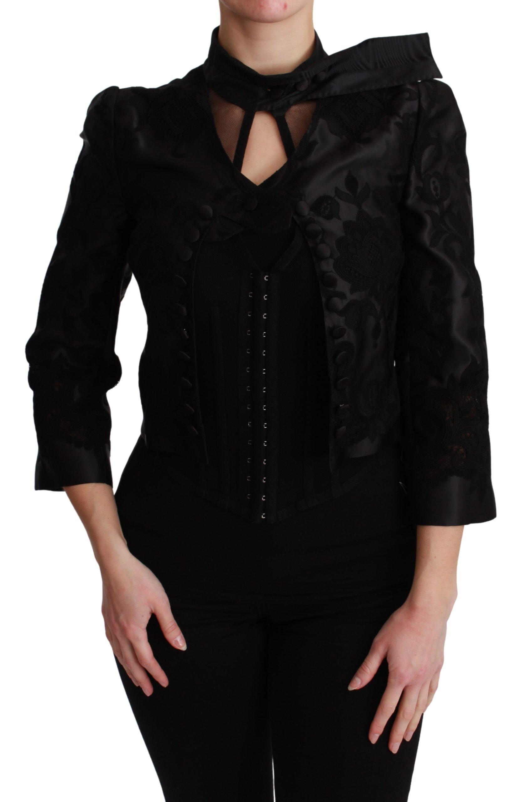 Black Floral Jacquard Blazer Silk Jacket - IT38 XS