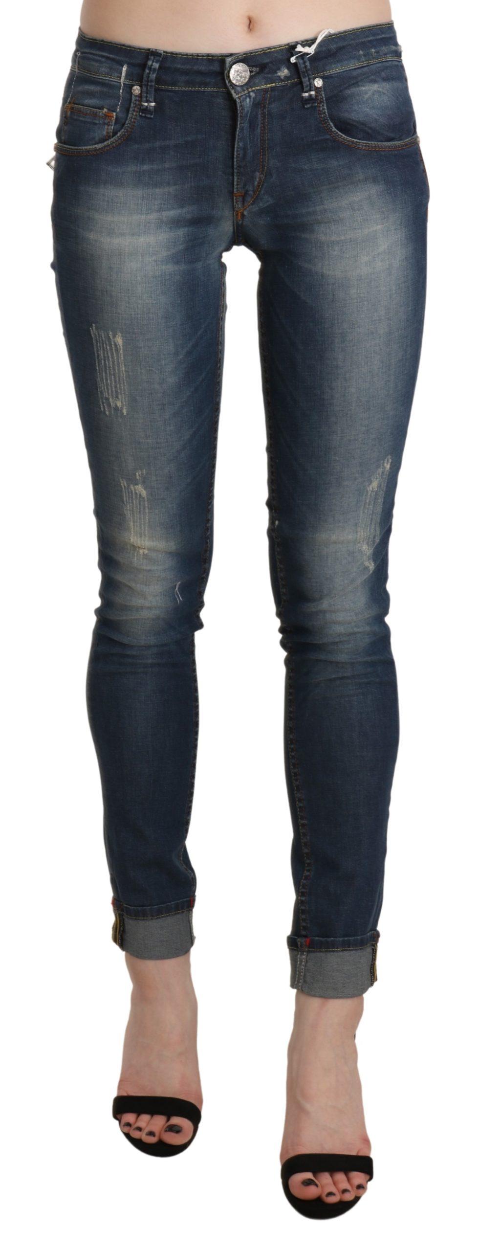 Blue Washed Low Waist Skinny Cropped Denim Trouser - W26