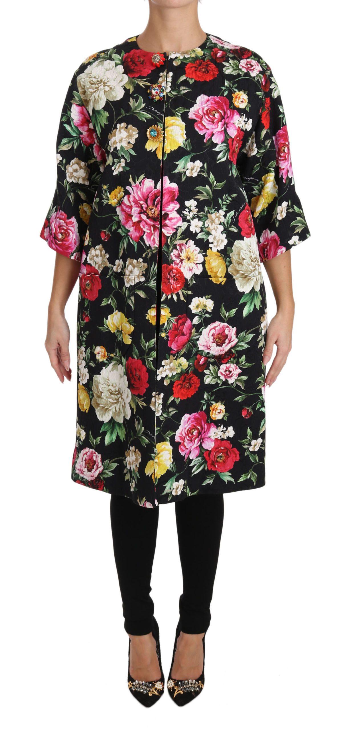 Dolce & Gabbana Women's Floral Crystal Jacquard Coat Black JKT2316 - IT36 | XS