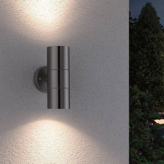 Paulmann Flame-seinälamppu 2-lamppuinen teräs
