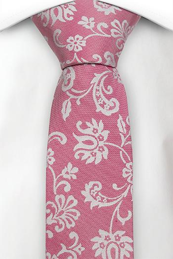 Silke Smale Slips, Nellikrosa, gulhvite fiskebeinmønstrete blomster, Notch ELTON