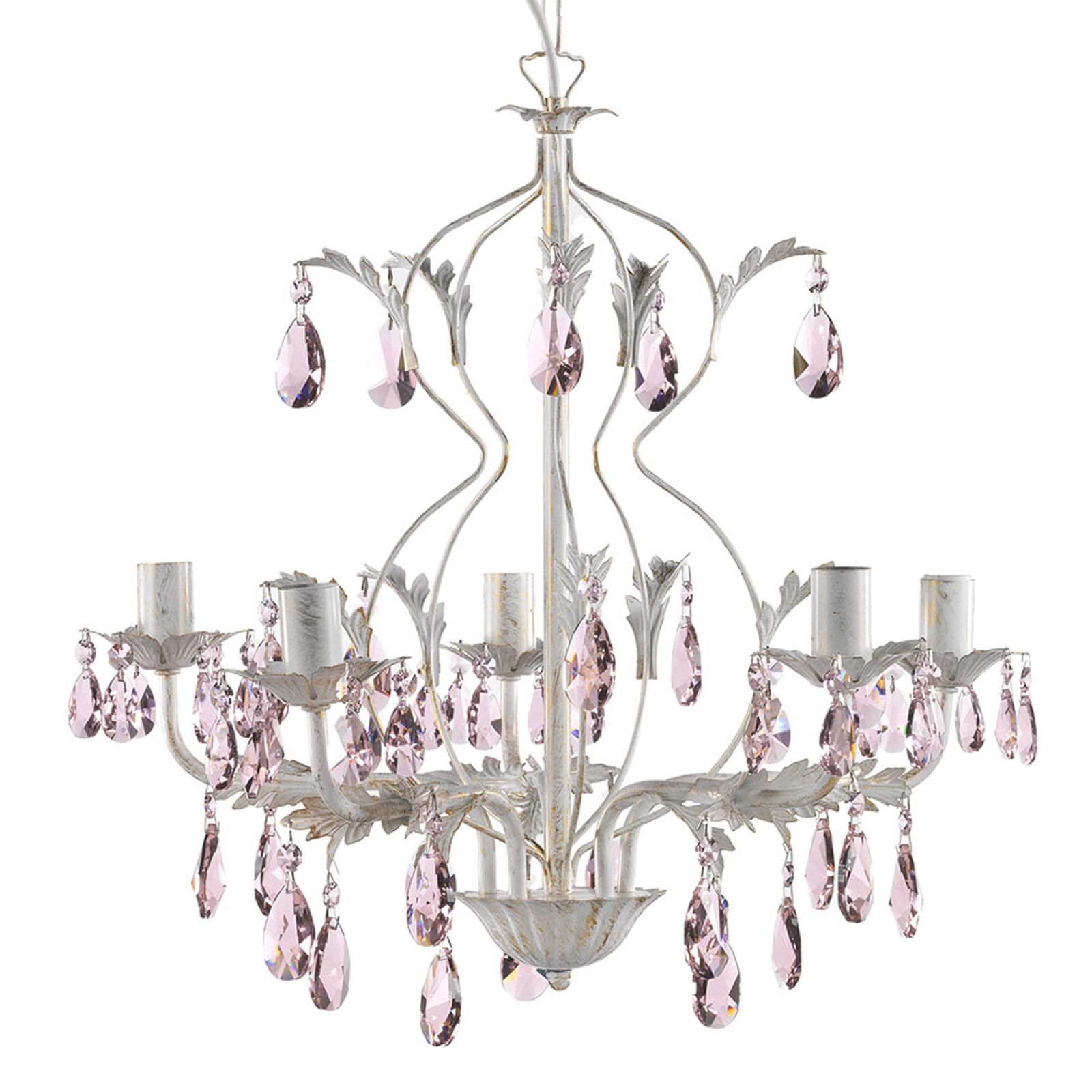Kattokruunu Kate, 5-lamppuinen, roosat kristallit