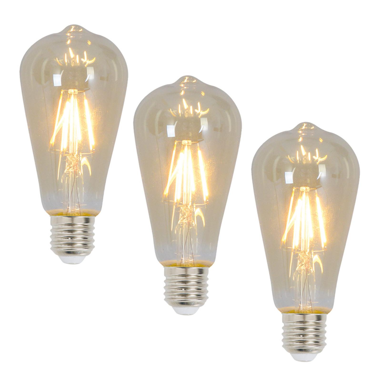 Rustiikki LED-lamppu E27 4 W, 300 lm, 3 kpl 2200 K