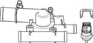 Termostat, kylvätska, Fram, på växellådssidan, Cylindriskt huvud