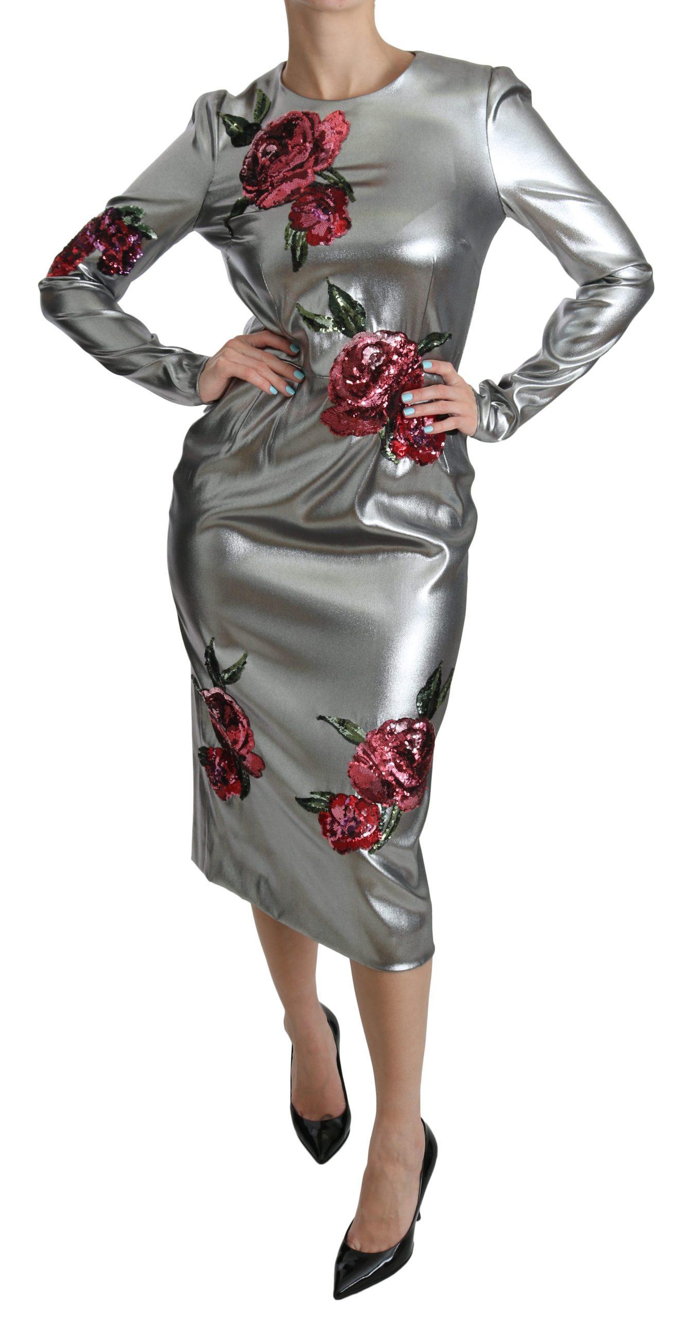 Dolce & Gabbana Women's Silk Stretch Roses Sheath Dress Silver DR2046 - IT44|L