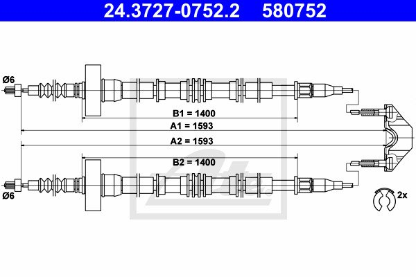 Käsijarruvaijeri ATE 24.3727-0752.2