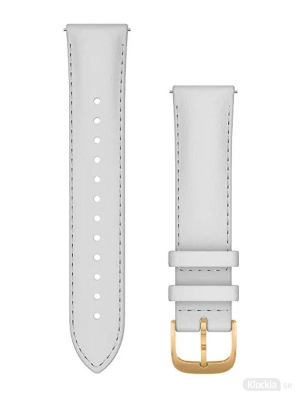 Garmin 20mm Vitt läderarmband med 24K guldfärgade PVD-detaljer
