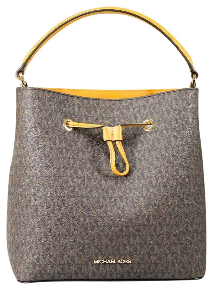 Suri Large Leather Bucket Crossbody Drawstring Hobo Handbag (Marigold)