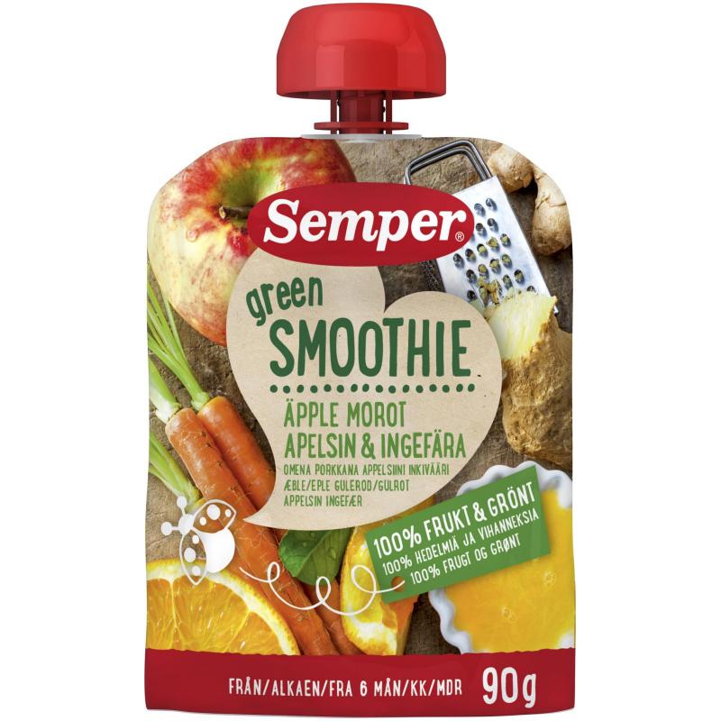 Lastenruoka, smoothie omena, appelsiini, porrkana & inkivääri 90g - 85% alennus