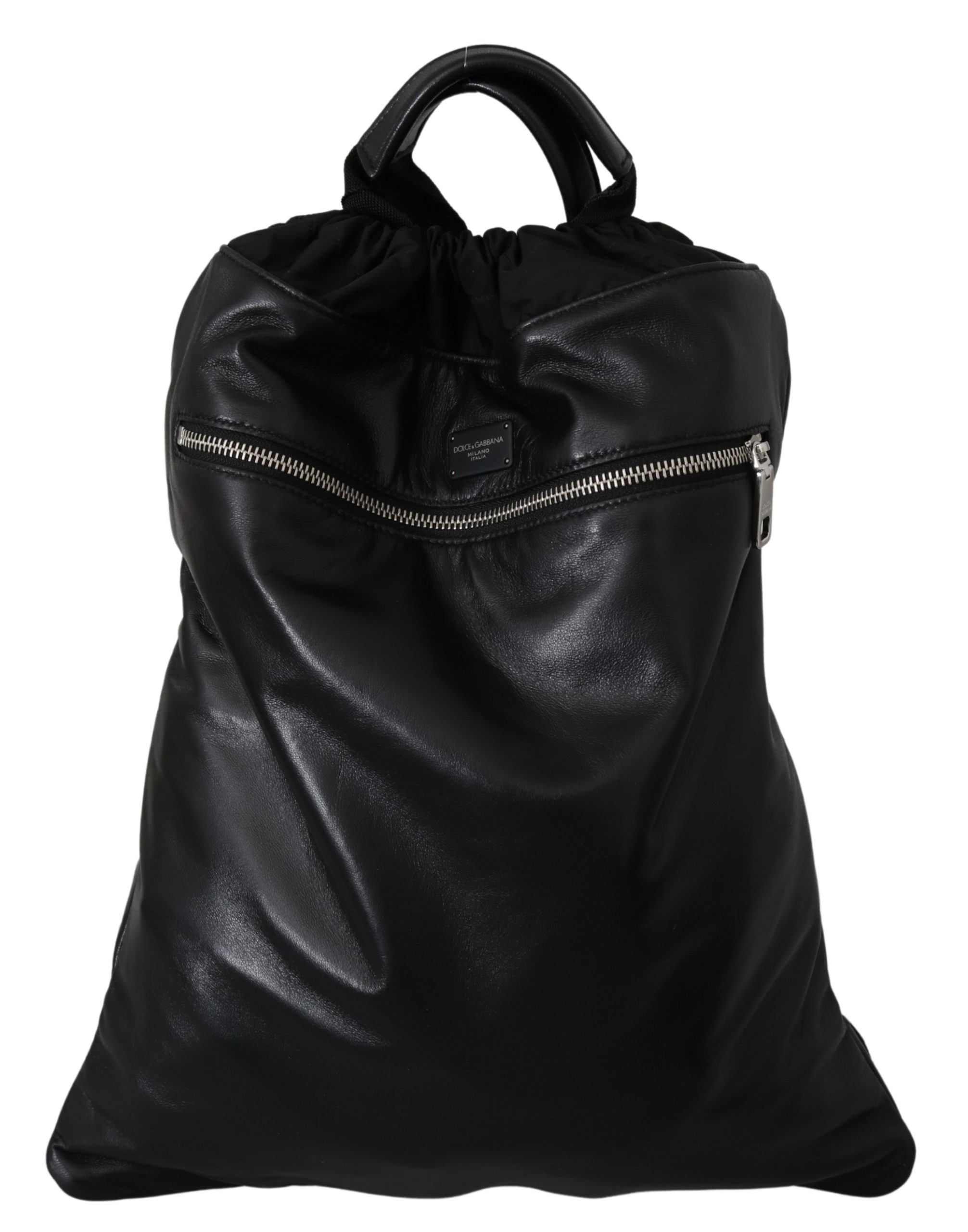 Dolce & Gabbana Men's Leather Drawstring Backpack Black VAS10043