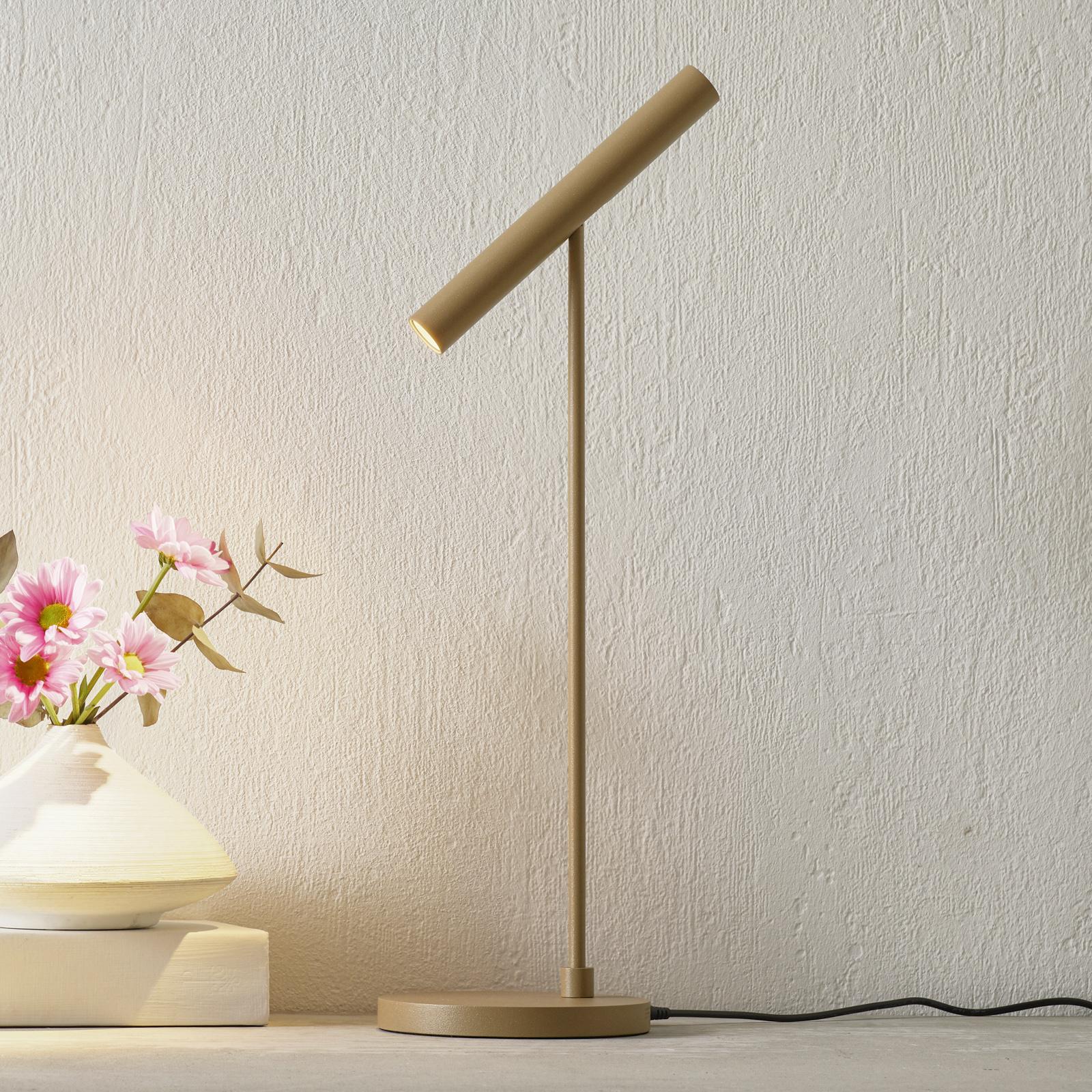 LOUM Meyjo -LED-pöytälamppu, sensor-dim, terra